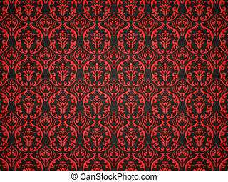 Black Leather background with red victorian ornament Useful...