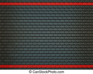 Black Leather stitched background with scales and red lines