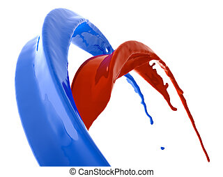 Blue and red fluid splashes isolated on white