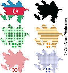 Azerbaijan - Vector illustration pixel map of Azerbaijan