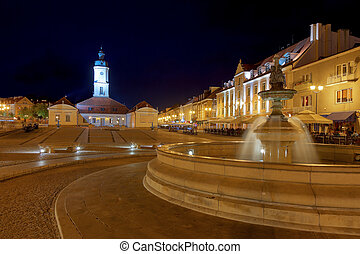 The Main Market Square with fountain at night, Poland.