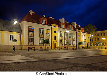 Old historic houses at night in Bialystok, Poland.