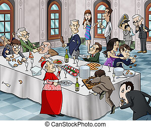 Bizarre banquet - Cartoon-style illustration of a bizarre...