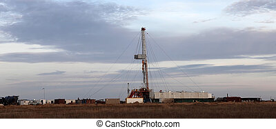 Oil rig - Panoramic view at onshore oil well