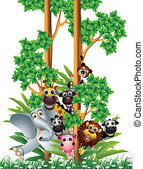 funny animal cartoon collection - vector illustration of...