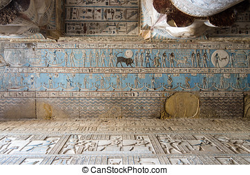 Hieroglyphs and carved paintings - Ancient Egyptian...