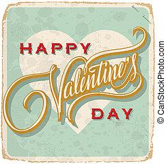 vintage valentine card vector - hand-lettered vintage...