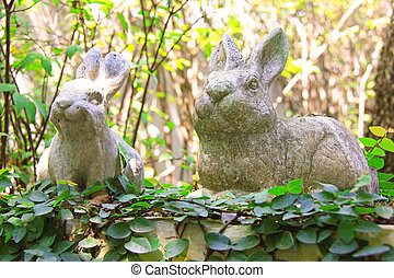 Statue of rabbits in the garden