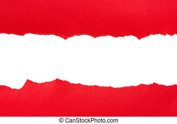 Torn red paper with space for text on white background