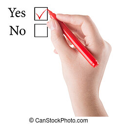 Hand with red marker draws Yes in checkbox