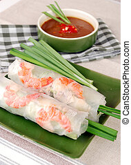 Vietnamese Traditional Spring rolls food - with shrimp and...