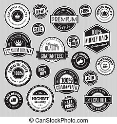 Set of labels and stickers for sale