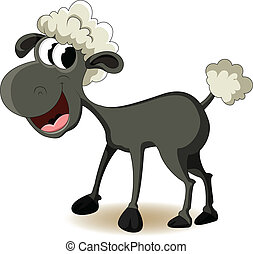 funny sheep cartoon - vector illustration of funny sheep...