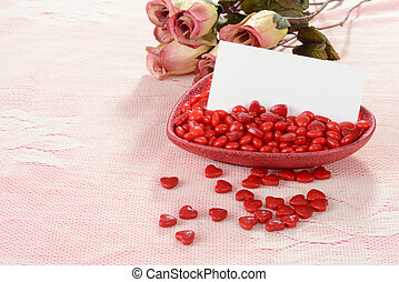 valentines heart candies and card