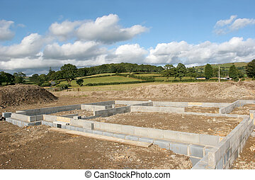 concreto, bloco, fundações