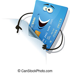 Happy Credit Card Showing Blank Sign - Illustration of a...