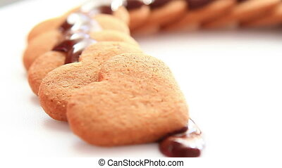 Chocolate biscuits on white table