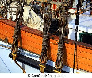 close up of sail boat ropes