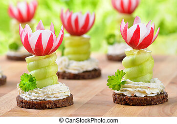 Cheese appetizers - Decorated cheese appetizers: Spiced...
