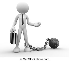 Businessman - 3d people - man, person with a chain ball...