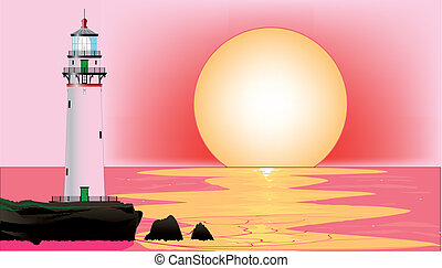 Lighthouse Sunset - A lighthouse at runset, set against a...