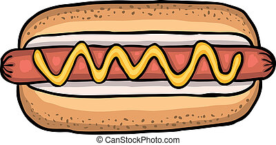Hot dog - Painted hot dog, vector illustration