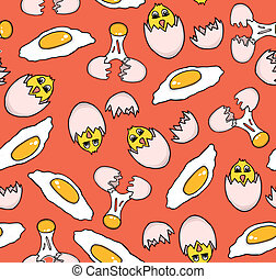 Pattern of eggs - Seamless pattern of eggs, vector...