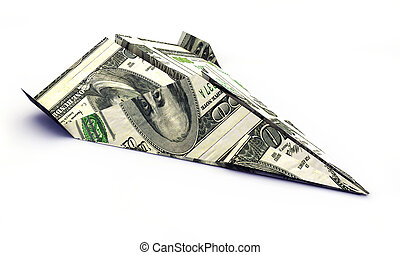 dollar airplane isolated on white background