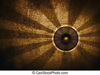 Brown retro starburst speaker - Brown textured retro...