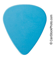 Blue Plectrum - blue plastic guitar plectrum, isolated on...