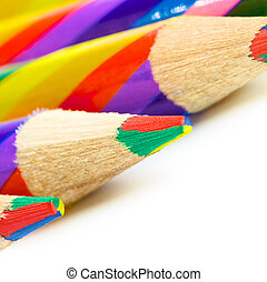 Colorful Pencils - striped colorful pencils isolated on...
