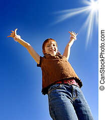 Young Girl with Arms Raised Towards Sunshine - Young joyful...