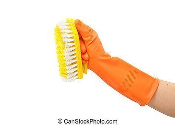 Clean tool,Plastic toilet brush with hand orange glove on...