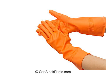 Two hand with orange glove  on white background