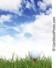 Golf ball on the green grass and blue sky.