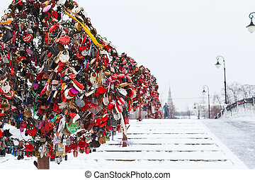 Love Tree with honeymooner locks on Luzhkov bridge in...