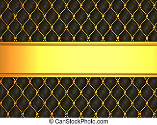 Leather background with golden blank line for caption. Large...