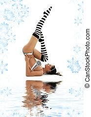 striped underwear supported shoulderstand - striped...