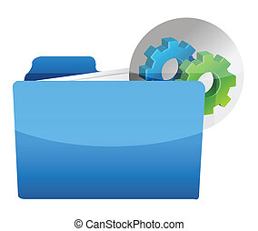folder icon with gear wheel illustration design over white