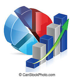 pie chart and chart Business illustration design over a...