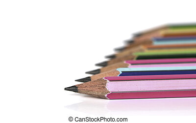 colorful pencils with Eraser end - isolated on the white...