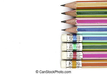 colorful pencils with Eraser end - isolated on the white background