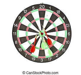 Dartboard with Darts isolated on white background
