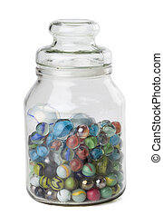 assorted marbles on jar