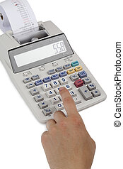 a cashier on the calculator with printed receipt - Close-up...
