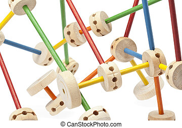 198 wooden tinker toys - Close up image of wooden tinker...