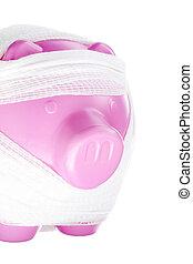 bandaged piggy bank