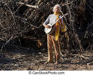 descalzo, banjo, jugador