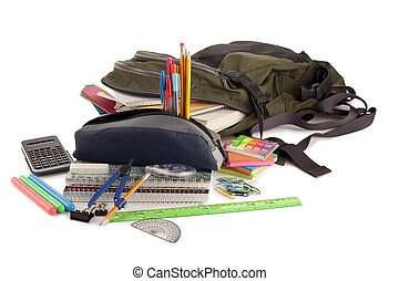 back pack with school supplies