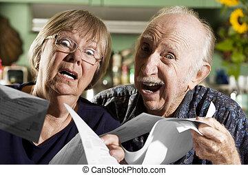 Elder Couple with Bills - Elder Couple at Home with Bills
